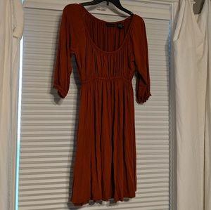New York & Co Rust Orange Peasant Dress Small